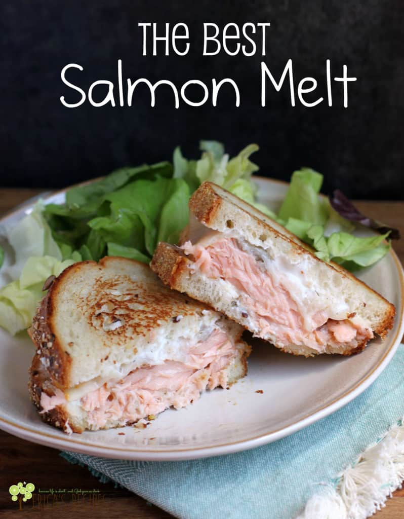 The Best Salmon Melt! Gorgeous fresh salmon, melty cheese, a little schmere of flavorful yogurt dip, and toasty bread. These are the required elements to give you the Best Salmon Melt sandwich. Ever. #recipe #salmon #food #seafood