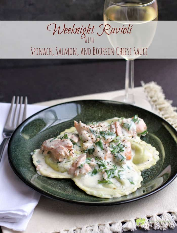 Weeknight Ravioli with Spinach, Salmon, and Boursin Cheese Sauce #recipe #food #salmon #seafood #dinner #pasta #easyrecipe #boursin