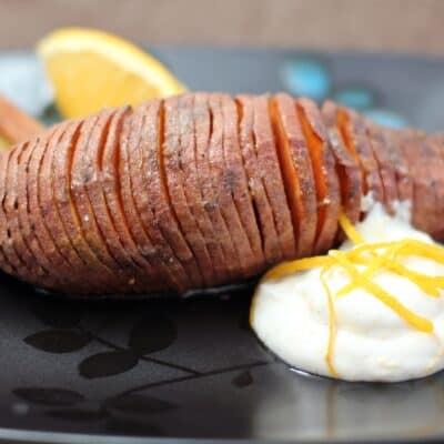 Sweet Hasselback Potatoes with Orange Cardamom Cream
