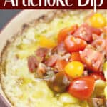 image for pinterest with text overlay Baked Green Chili Artichoke Dip