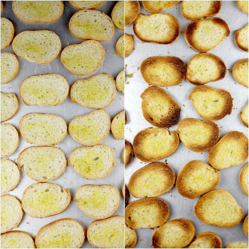collage of 2 photos: left, slices of baguette with olive oil; right, toasted crostini