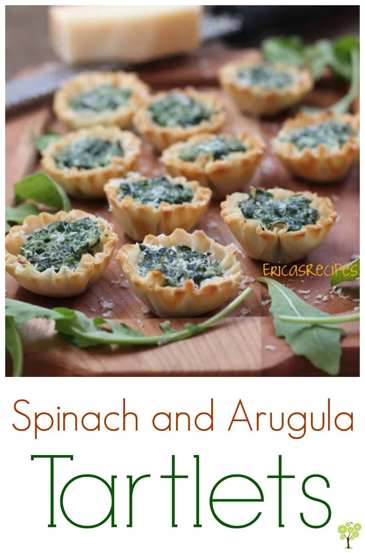 Spinach and Arugula Tartlets #partyfood #recipe #appetizer #vegetarian