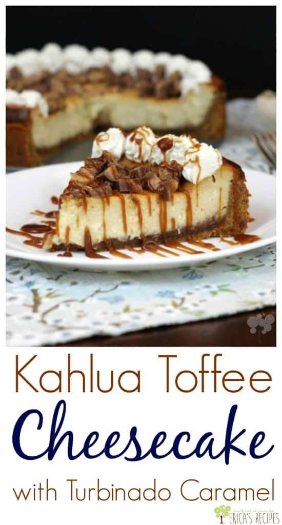 Kahlua Toffee Cheesecake with Turbinado Caramel