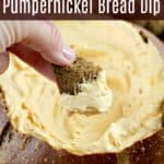Cheddar Beer Pumpernickel Bread Dip is a recipe from my childhood and lifelong favorite bread dip of all time. Of course you can use other bread, but the match this hoppy cheesy beer dip makes with pumpernickel bread is magical. #recipe #food #partyfood #appetizer #beer #recipeswithbeer