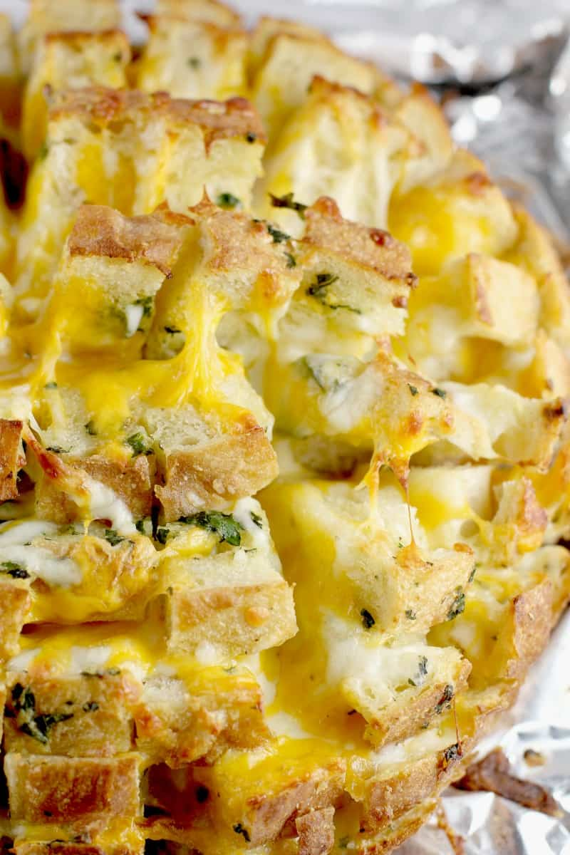 top down, zoomed in view of the cooked cheesy garlic bread