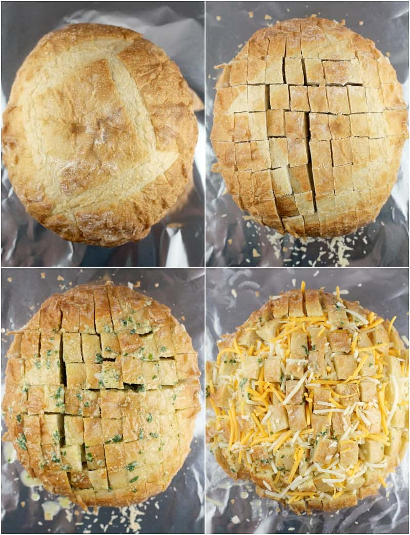 collage of 4 photos showing the process to make the stuffed bread: uncut bread loaf; cut bread loaf; the loaf with the butter mixture in the cracks; cheese stuffed in the cracks