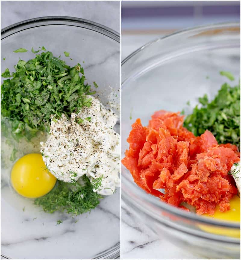 collage showing the ingredients in a bowl on the left, then with salmon on the right