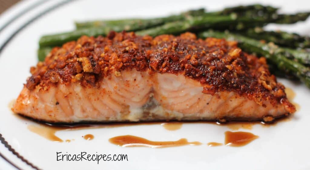 Pecan-Crusted Maple Salmon | EricasRecipes.com