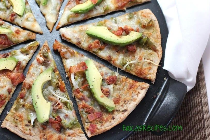 Roasted Poblano, Onion, Bacon Pizza | EricasRecipes.com