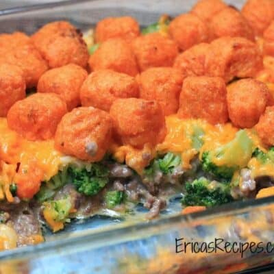 Cheesy Sweet Potato Tater Tot Casserole