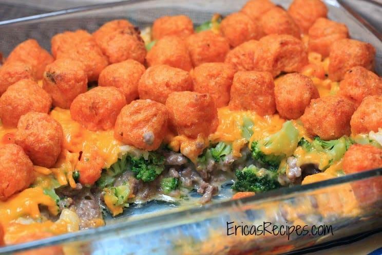 Cheesy Sweet Potato Tater Tot Casserole
