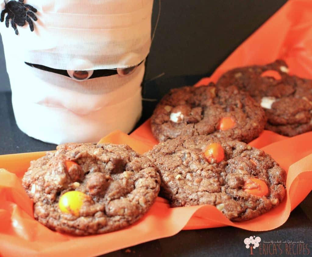 Halloween Nutella Candy Corn MM Cookies from EricasRecipes.com 3W
