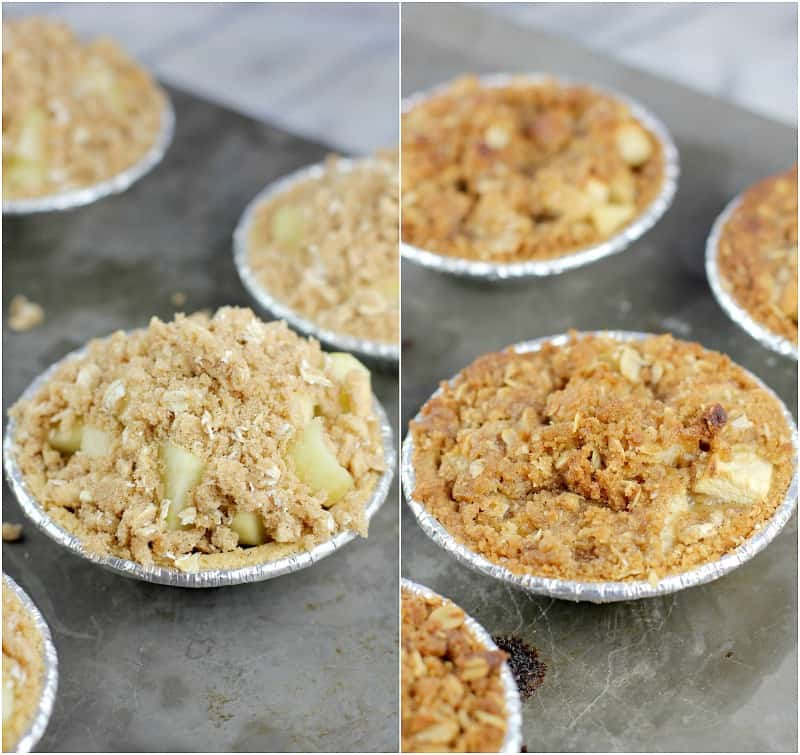 collage of 2 photos: uncooked mini pie on the left; cooked pie on the right