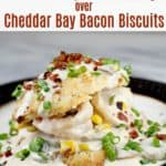 image for pinterest of finished recipe with text overlay Shrimp Gravy over Cheddar Bay Bacon Biscuits