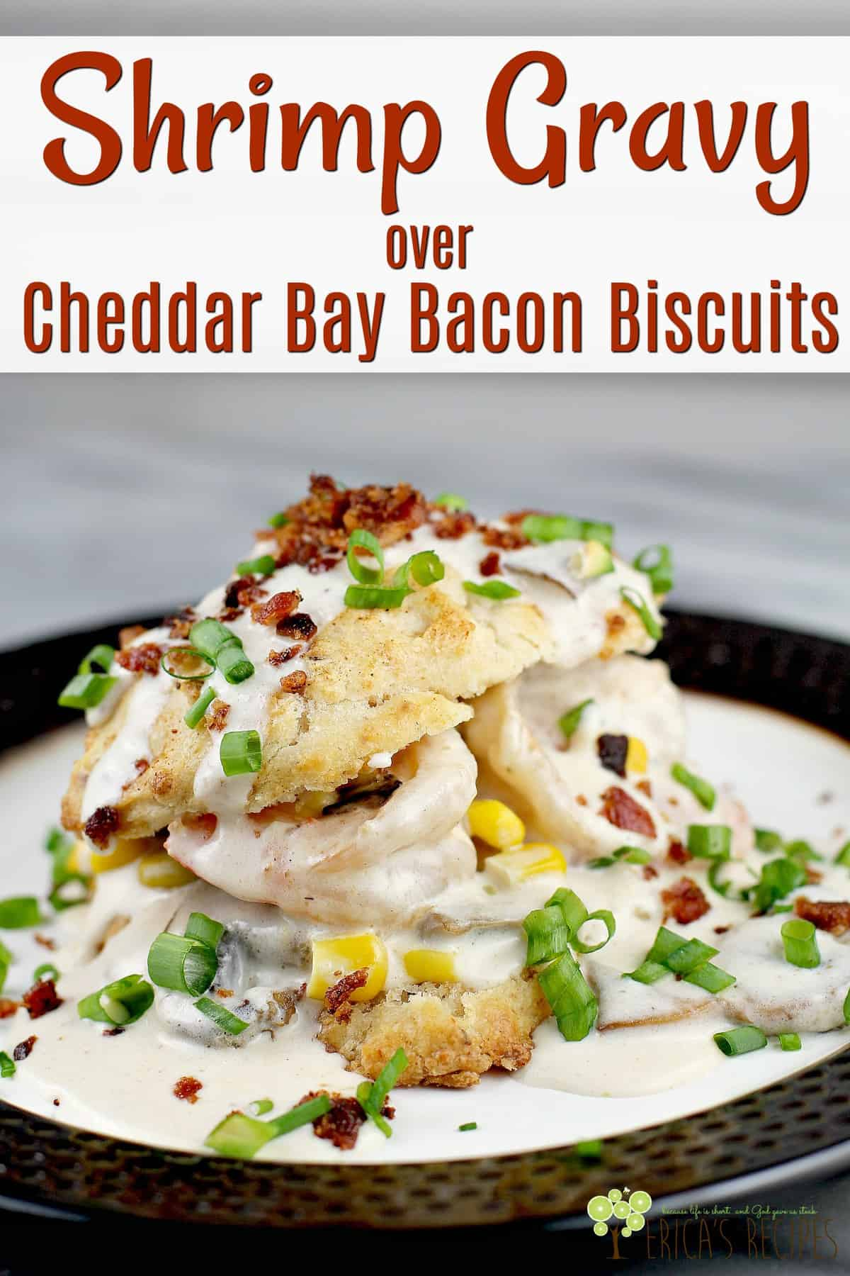 This epic recipe for Shrimp Gravy over Cheddar Bay Bacon Biscuits is as delicious as it is fun to make. Cream gravy with shrimp, over copycat Red Lobster biscuits made even better with bacon. Make this biscuits and gravy recipe for a delicious, creative seafood recipe with a low-country vibe. #breakfast #redlobstercopycat #biscuitsandgravy #cheddarbaybiscuits #shrimpgravy #food #seafoodrecipe #shrimprecipe #cheddarbaconbiscuits