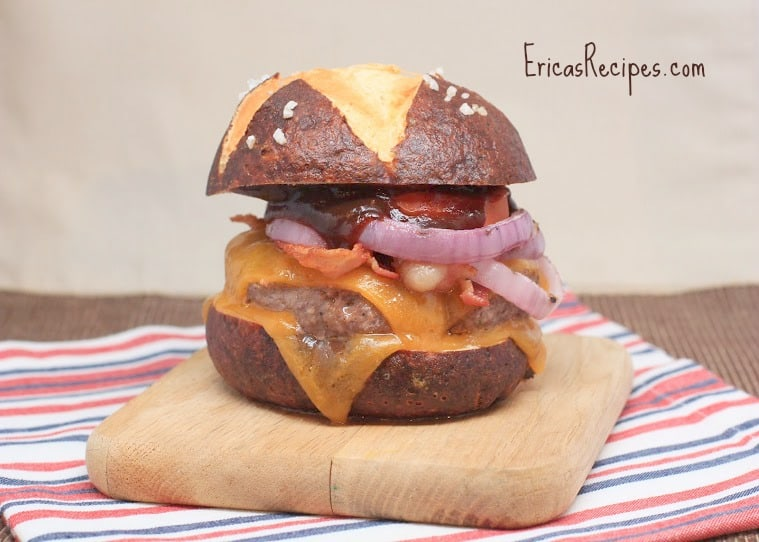 BBQ Bacon Double Cheeseburgers on Homemade Pretzel Buns | EricasRecipes.com