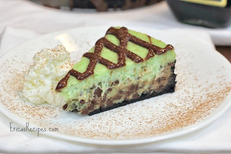 Grasshopper Cheesecake with Nutella Mint Drizzle