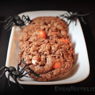 Halloween Nutella and Candy Corn M&M Cookies