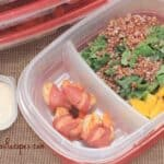 Healthy Week: Lunches 3 {Bacon-Wrapped Shrimp with Kale and Quinoa Salad and Buttermilk-Parmesan-Peppercorn Dressing}