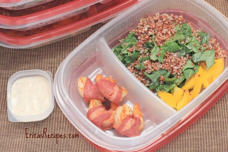 Bacon-Wrapped Shrimp with Kale and Quinoa Salad