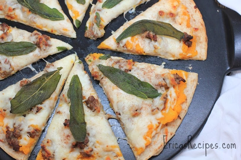 squash and sausage pizza with crispy sage