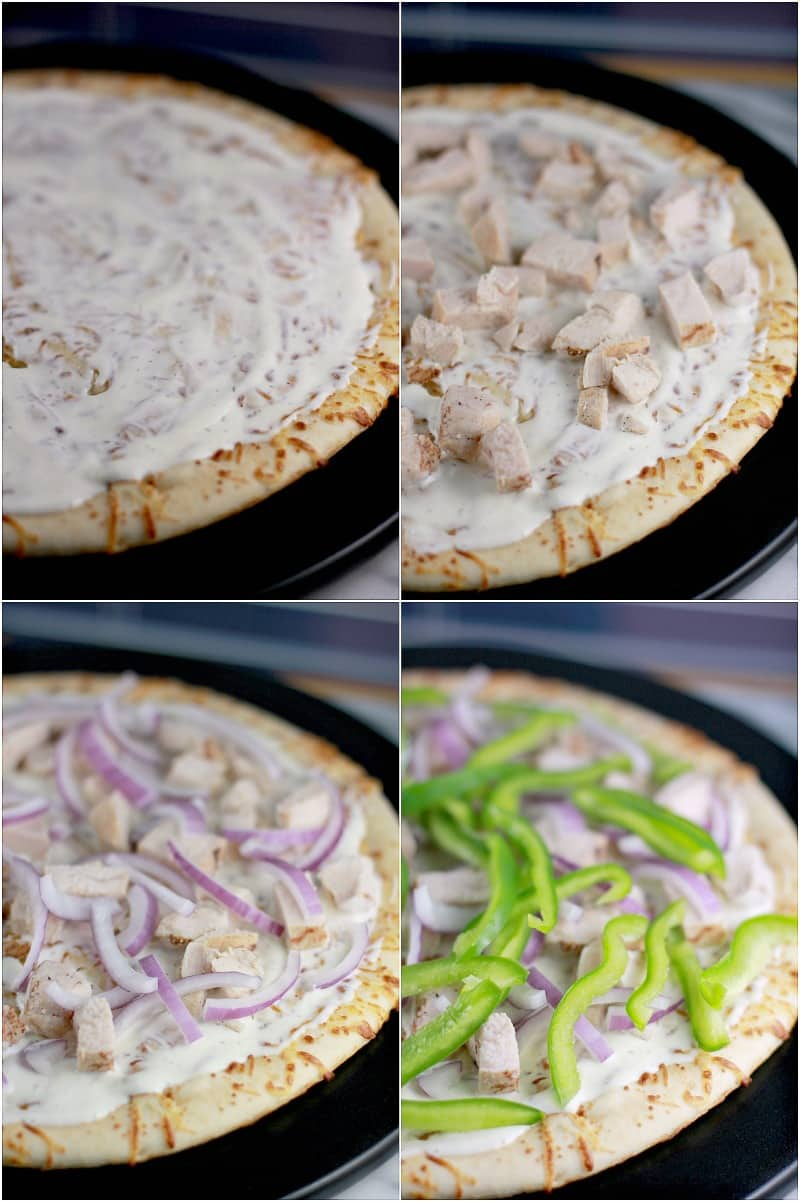 Collage of four photos showing the layers of pizza toppings on the pizza crust; ranch, turkey, onion, and green bell pepper