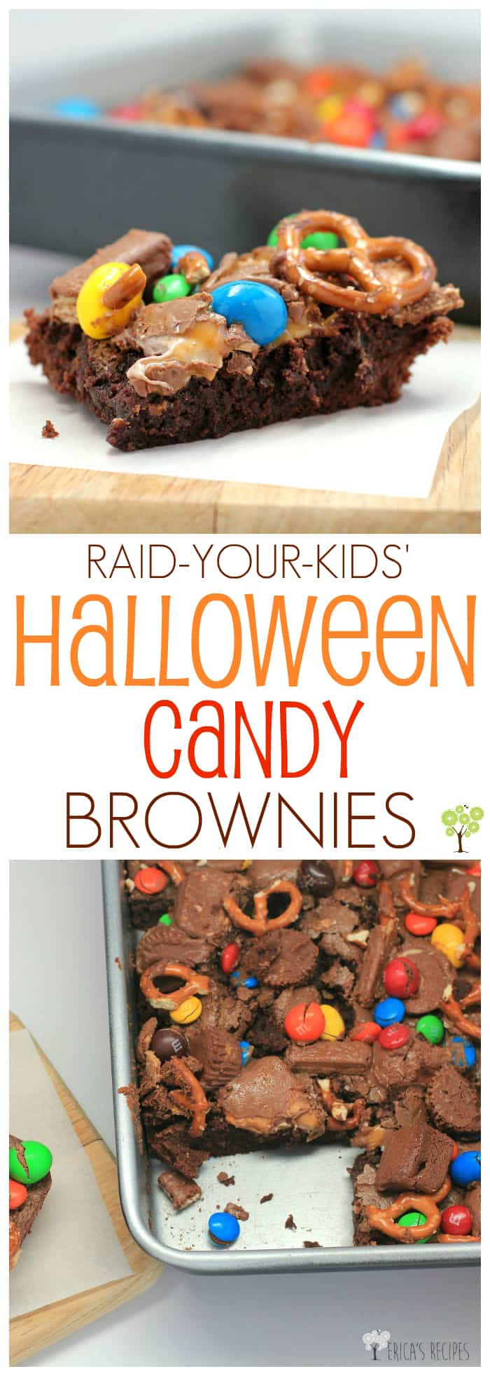 Raid-Your-Kids' Halloween Candy Brownies #recipe #halloween #candy #brownies #food