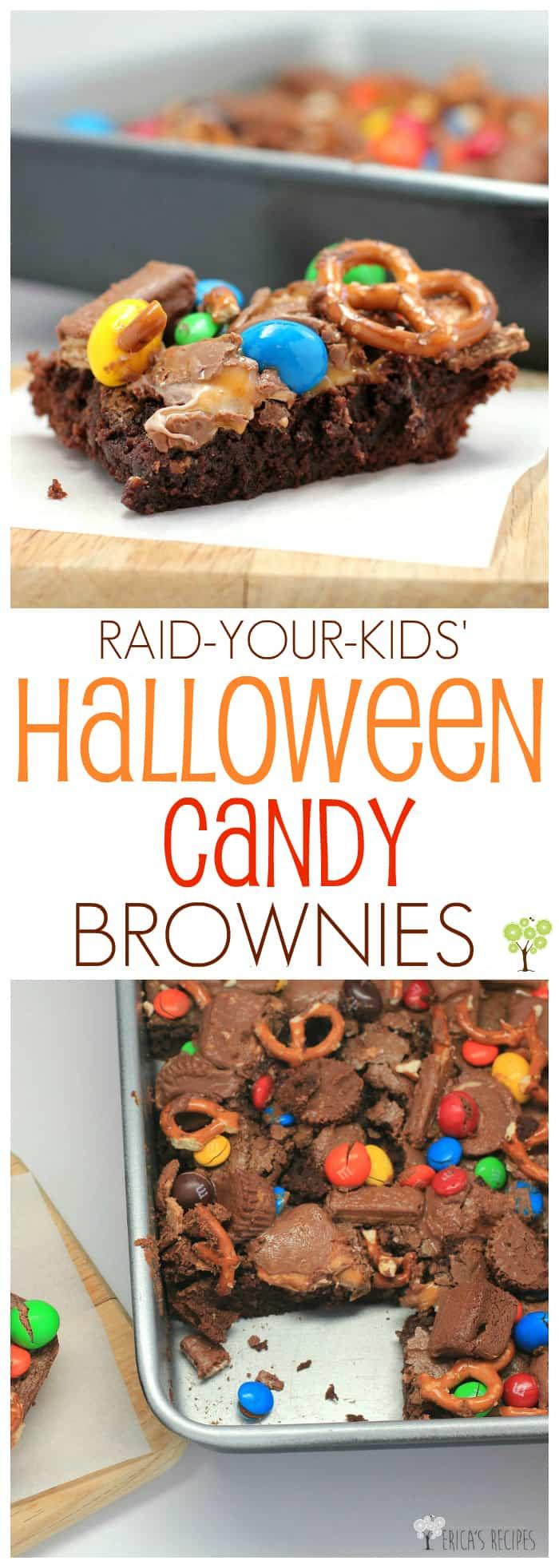 Raid-Your-Kids' Halloween Candy Brownies #recipe #halloween #candy #brownies #food