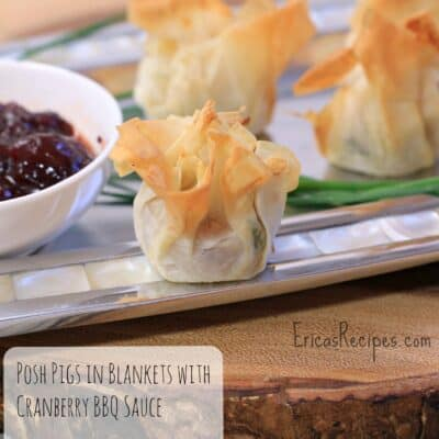 Posh Pigs in Blankets with Cranberry BBQ Sauce