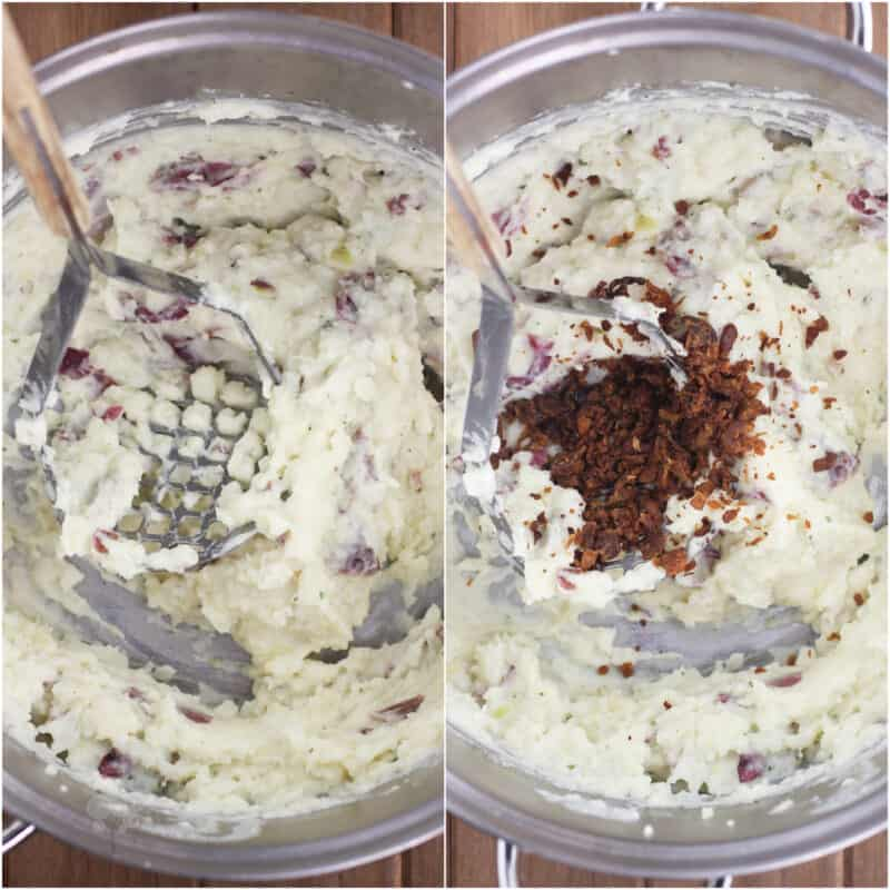 collage of 2 photos: left, ranch mashed potatoes in pot with masher; right, bacon added to potatoes