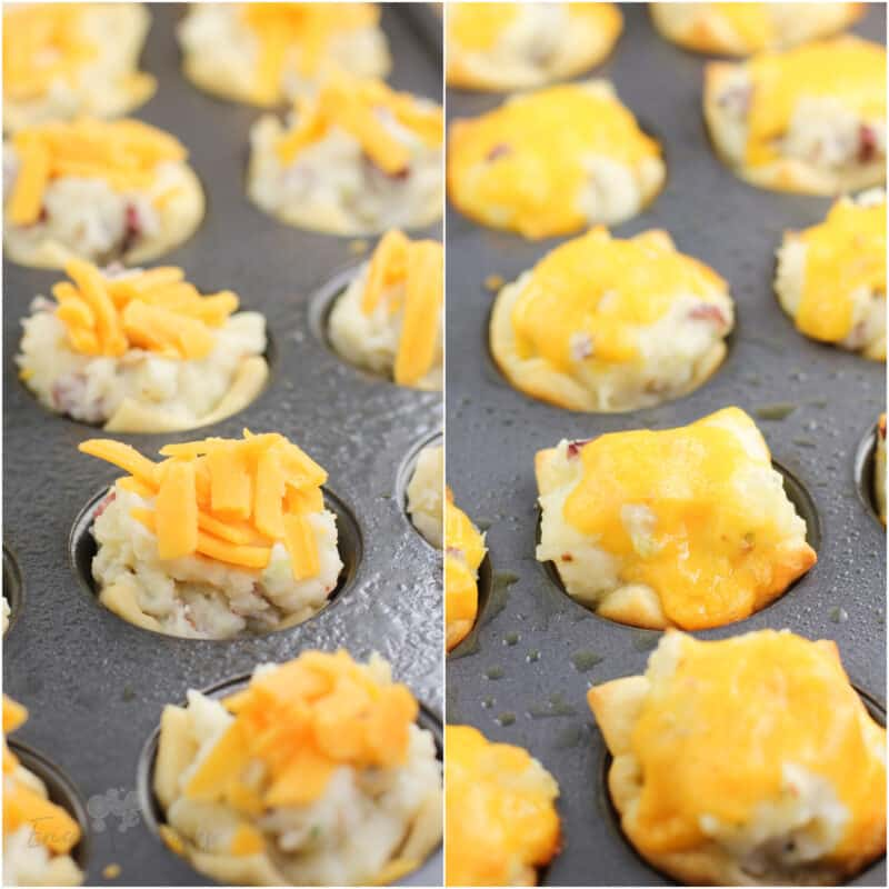 collage of 2 photos: left, uncooked potato cups topped with cheese; right, cooked potato cups
