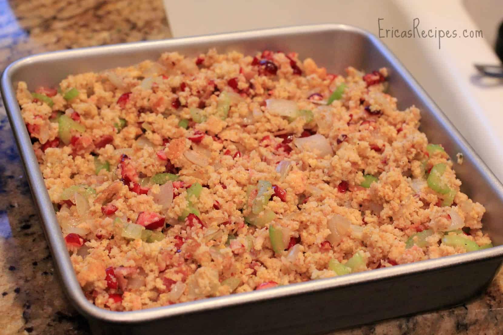 Cranberry & Bacon Cornbread Stuffing - Erica's Recipes