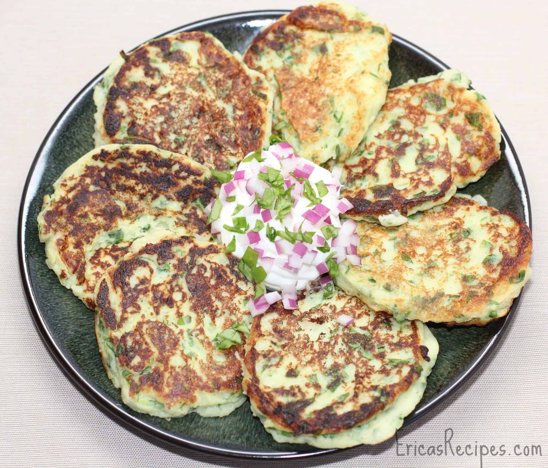 Garlicky Spinach-Potato Cakes