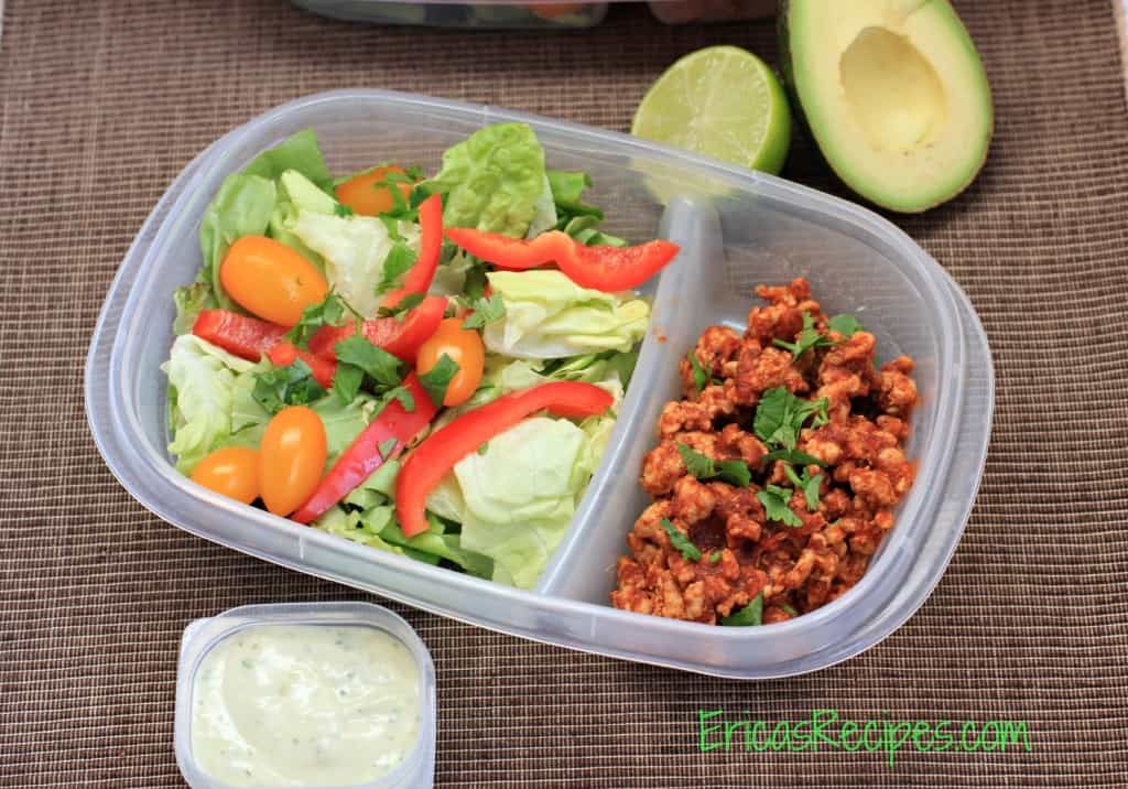 Taco Salad with Avocado Herb Dressing