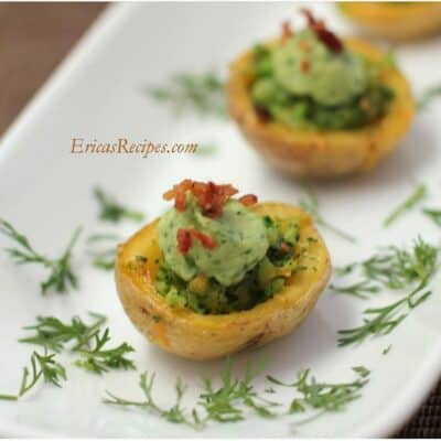 Broccoli-Cheese Potato Skins with Avocado Cream