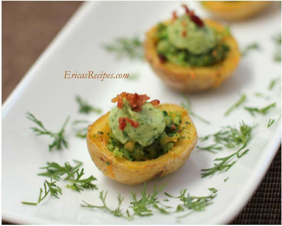 Broccoli-Cheese Potato Skins with Avocado Cream from EricasRecipes.com