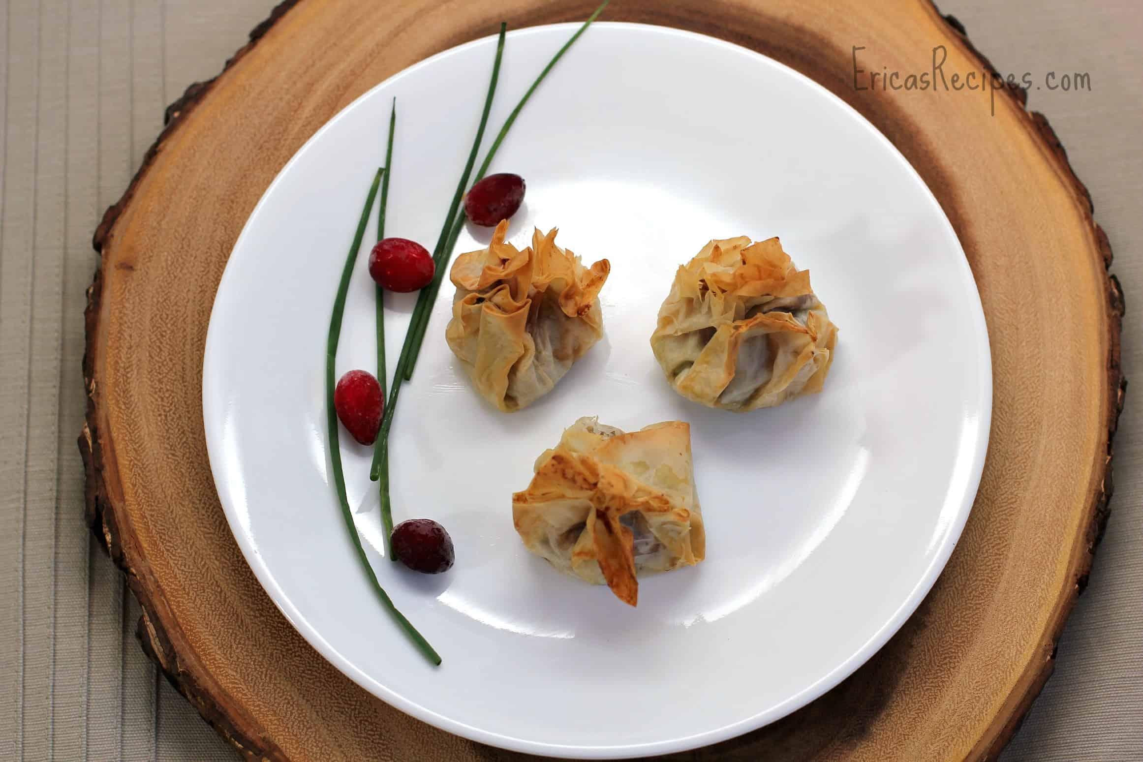 Salmon-Dijon Purses with Cranberry BBQ Sauce