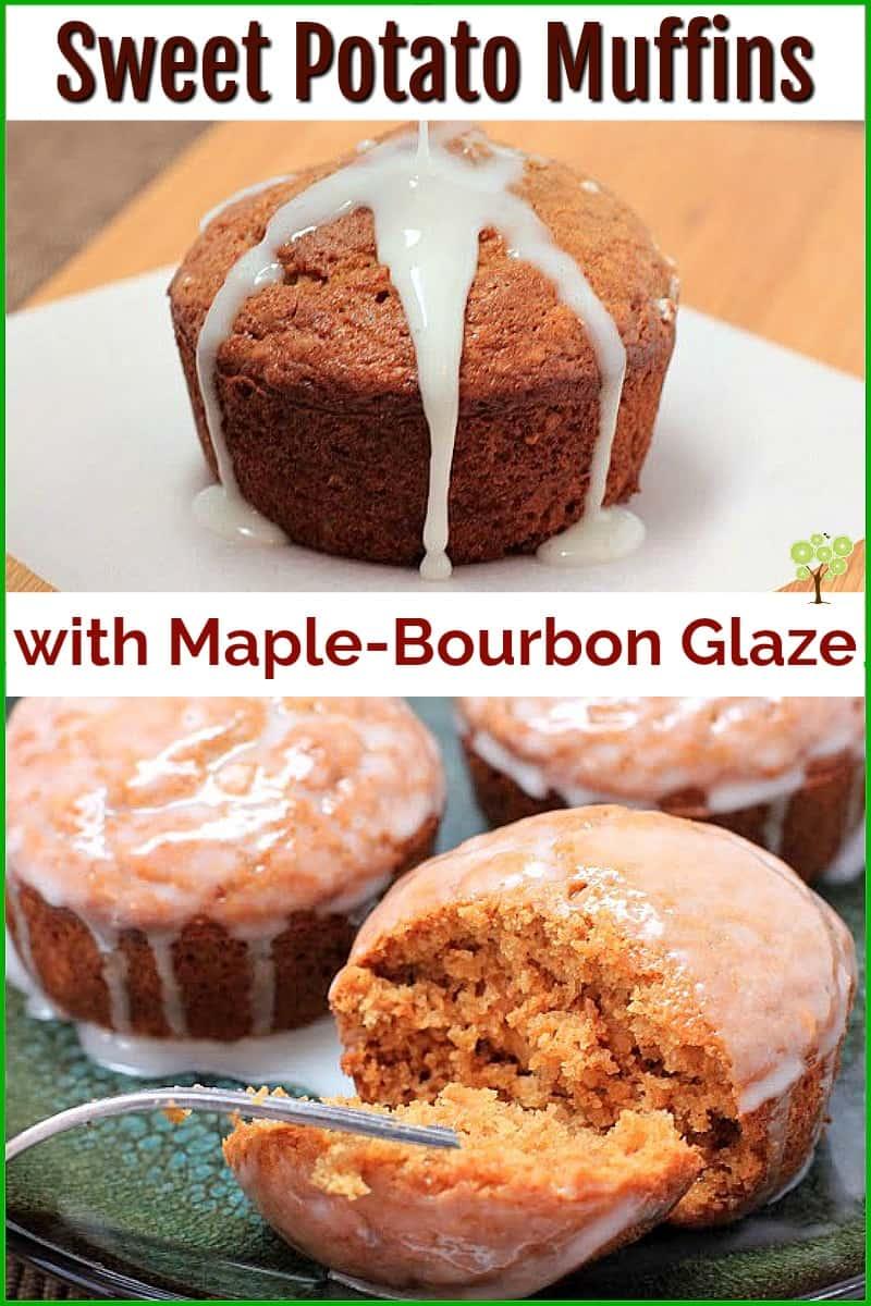 Sweet Potato Muffins with Maple-Bourbon Glaze #muffin #food #breakfast #recipe