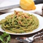 Whole Wheat Spaghetti with Arugula, Spinach, and Walnut Pesto