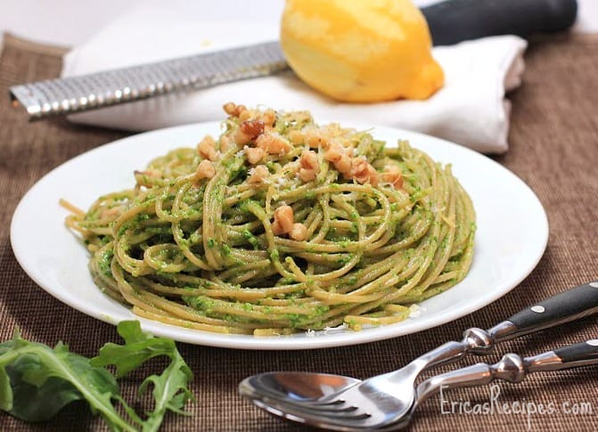 Whole Wheat Spaghetti with Arugula, Spinach, and Walnut Pesto