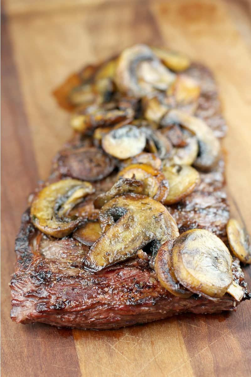 Bistro Garlic Butter Skirt Steak with Mushrooms