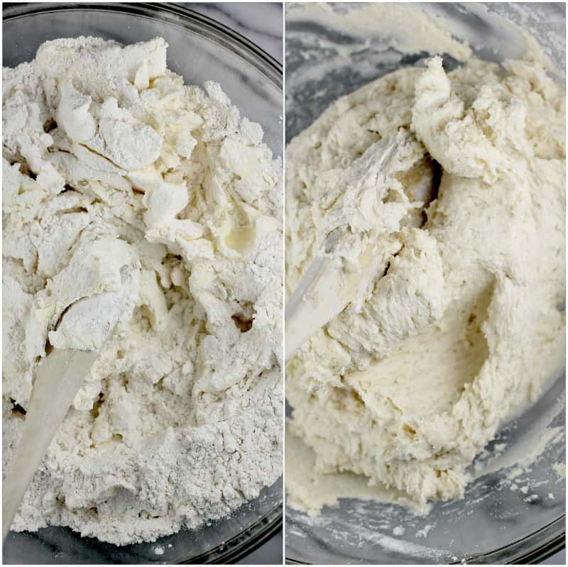 collage of 2 photos to show making the cream cheese cookie dough: left is just starting to mix the ingredients in a glass bowl with a wooden spoon; right is the combined ingredients