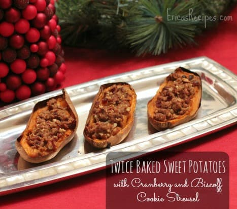 Twice Baked Sweet Potatoes with Cranberry and Biscoff Cookie Streusel