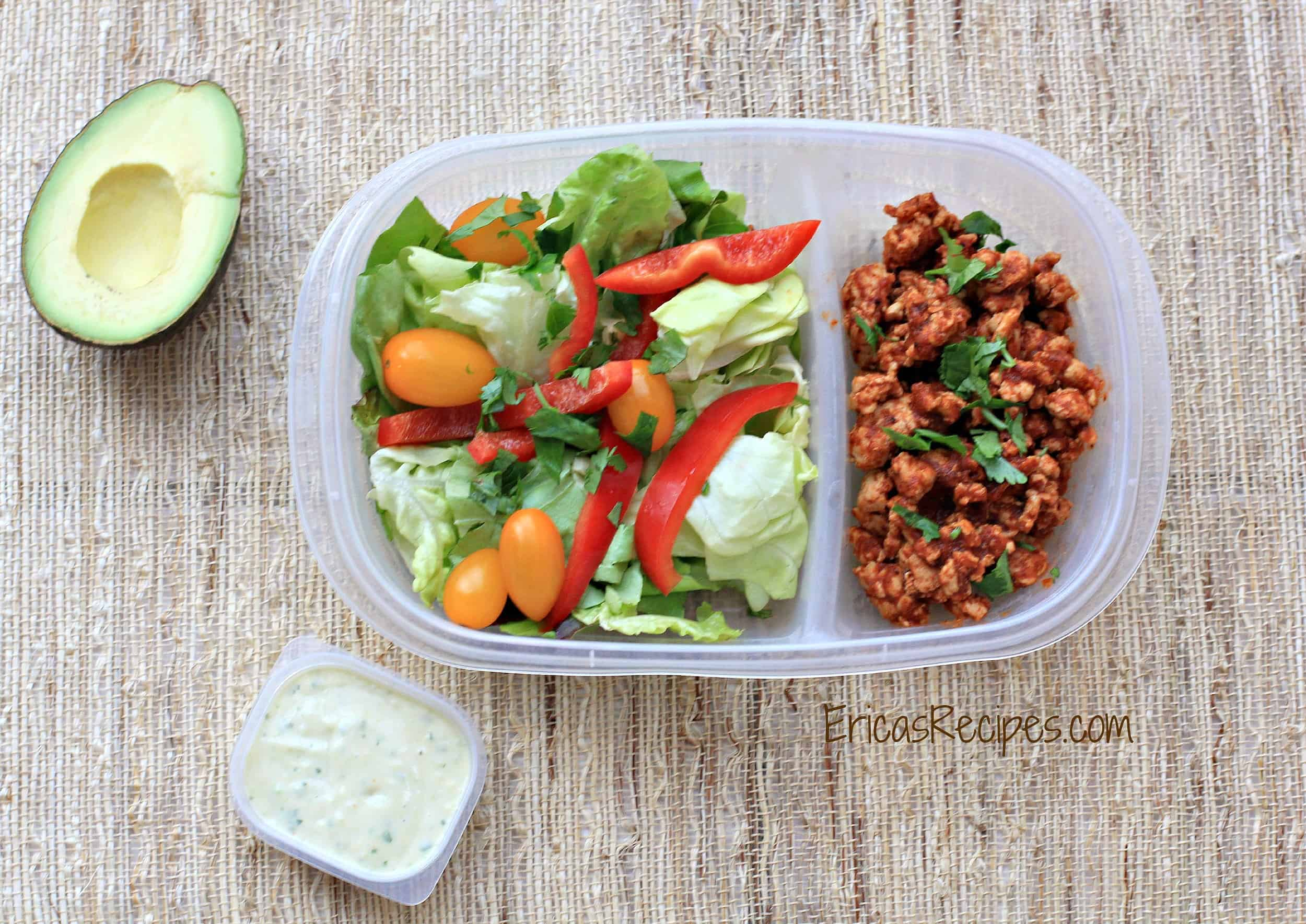Taco Salad with Avocado Herb Dressing