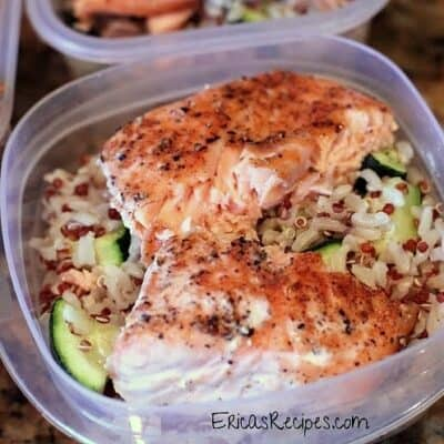 Baked Salmon with Brown Rice, Red Quinoa, and Zucchini