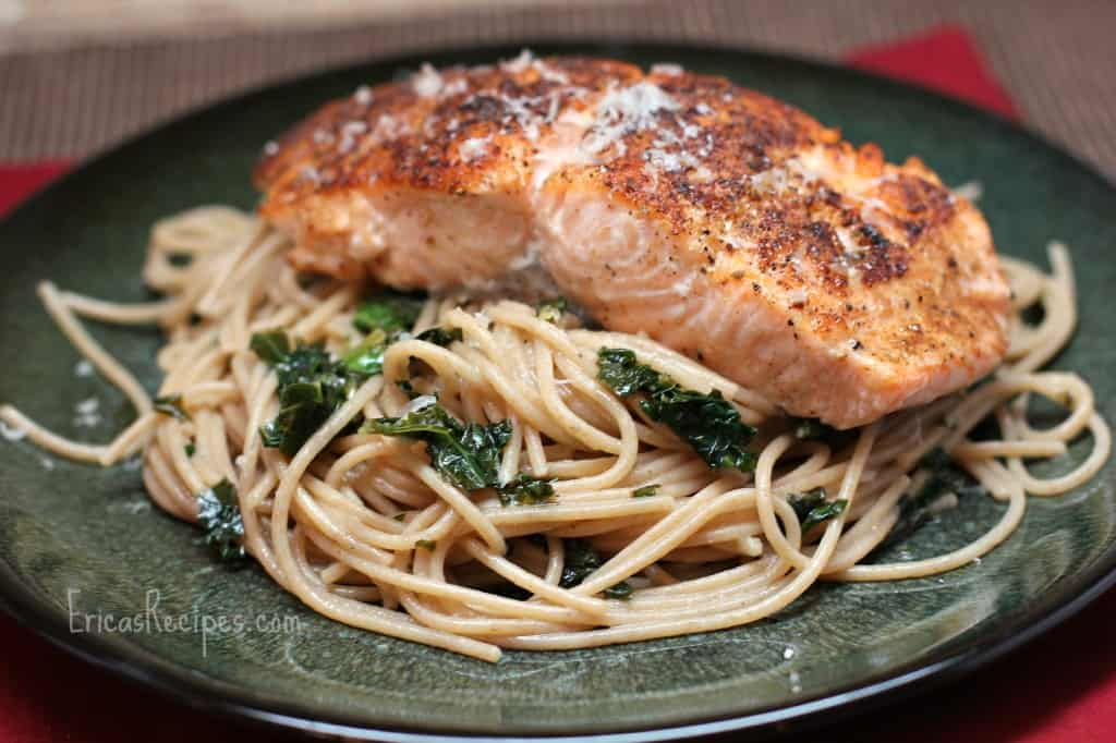 Seared Salmon over Whole Wheat Pasta with Kale, Garlic, and Pine Nuts