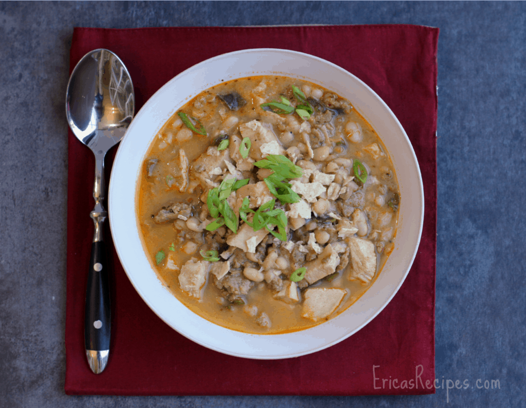 Turkey, Sausage, and Poblano White Chili