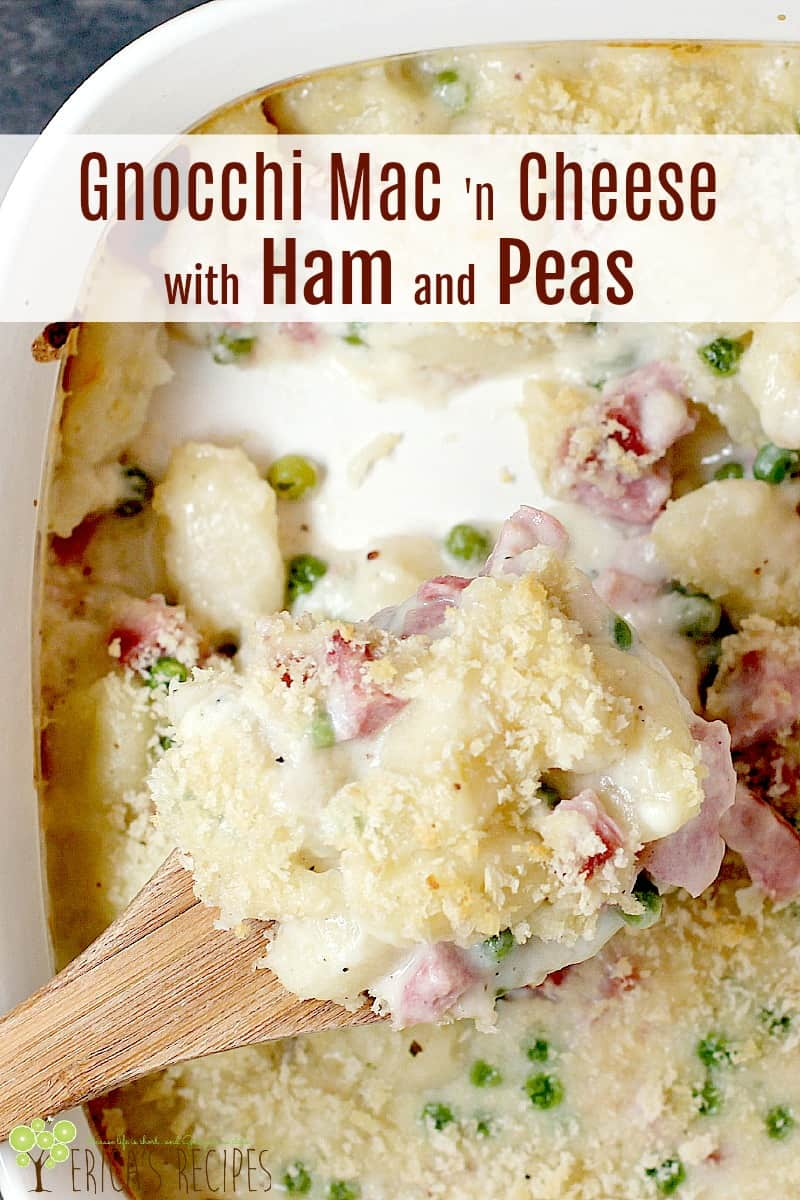 With cheesy potato dumplings and sweet peas, t​his cozy Gnocchi Mac 'N Cheese with Ham and Peas casserole is a perfect way to use up leftover holiday ham.​ #food #recipe #macaroniandcheese #macncheese #gnocchi #dinner #cheese
