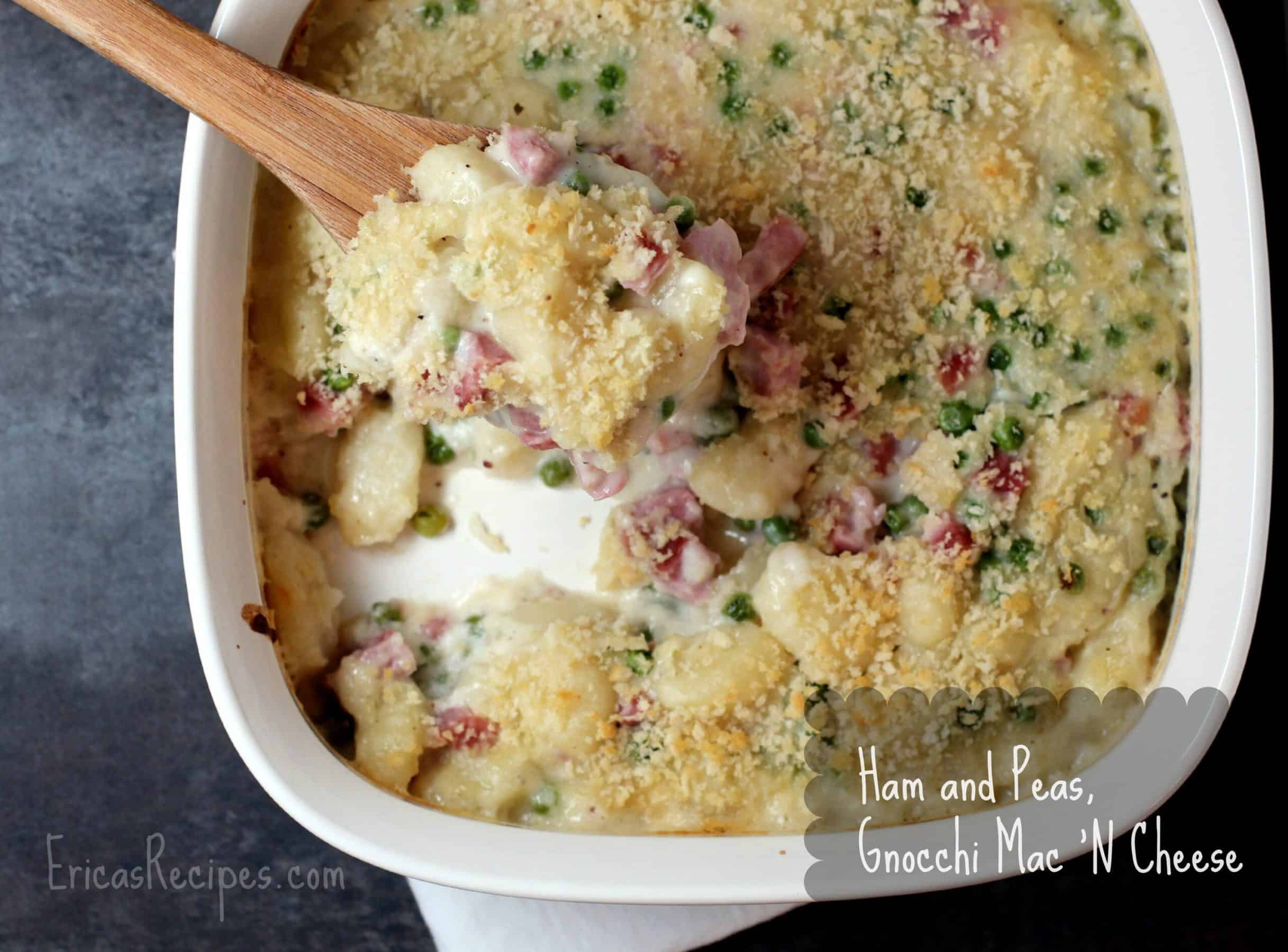 Gnocchi Mac 'N Cheese with Ham and Peas