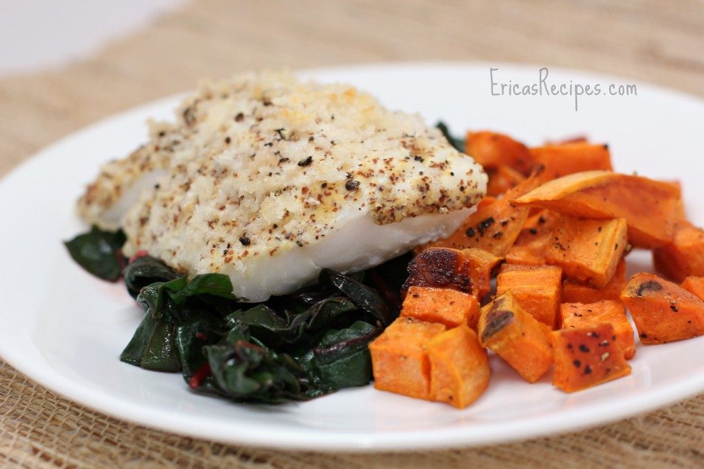 Easy Dijon-Baked Cod over Swiss Chard